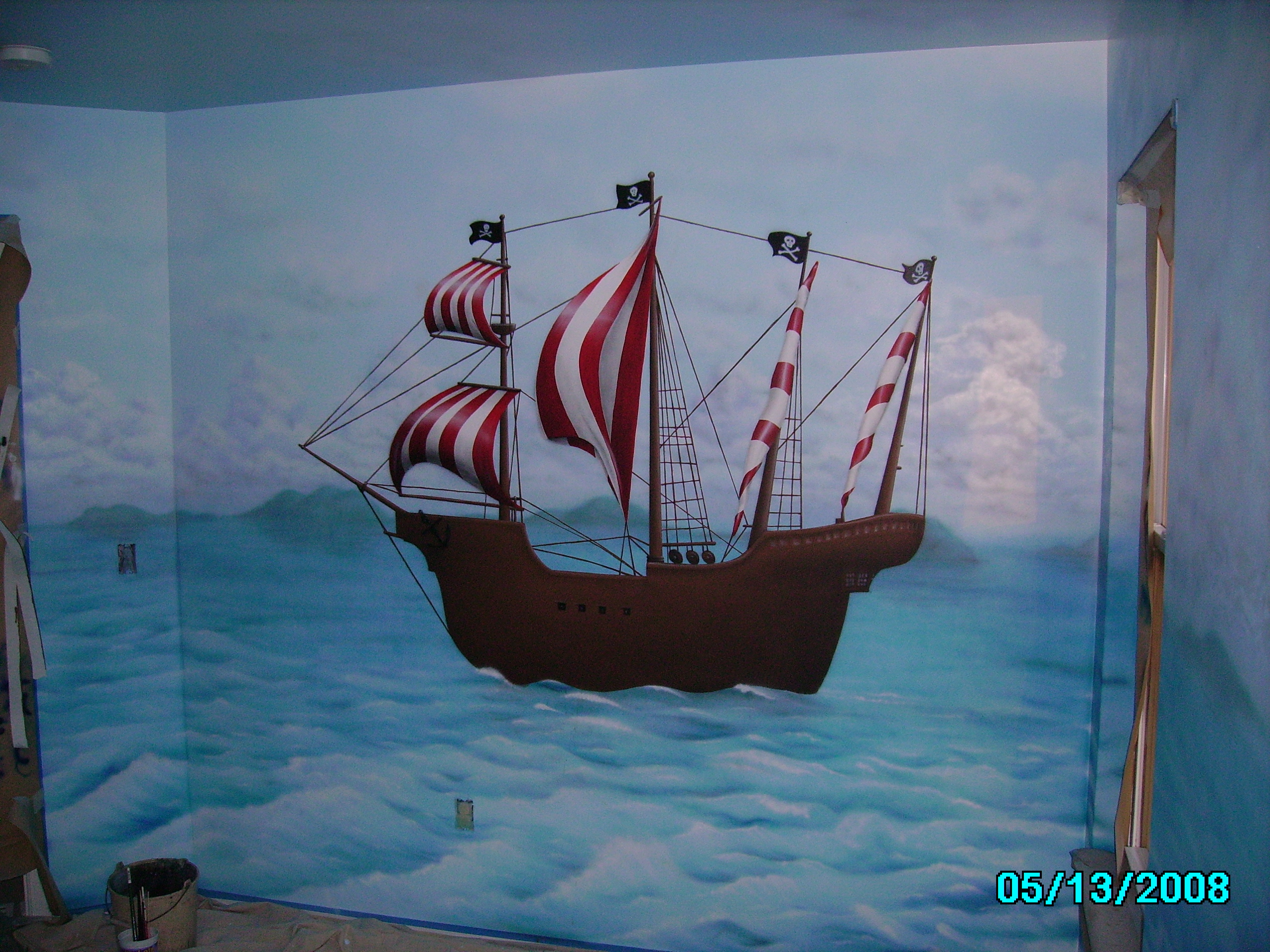 ... Mural Artist James Labadie   Kids Pirate Ship Mural Completed, Main Wall Part 88